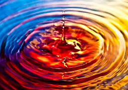 Colorful ripple of water