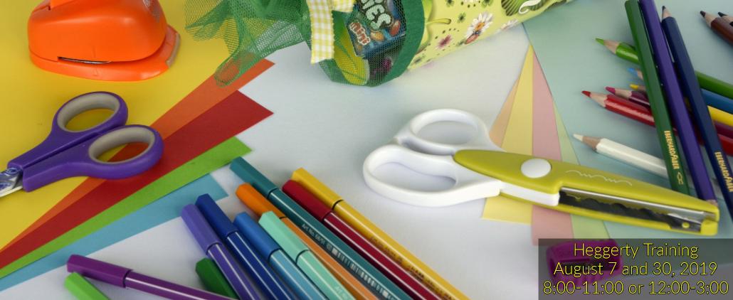 School supplies: scissors, bens, pencils, paper