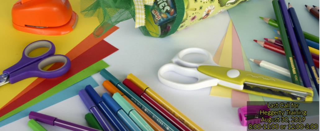School supplies: scissors, pens, pencils, paper